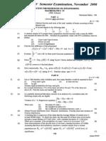 CUSAT 501- Engineering Mathematics IV Nov 2008 (2006 Ad) QUESTION PAPER