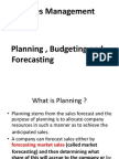 Sales Planning , Budgeting Forecasting