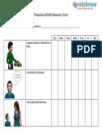772 Preschool ADHD Behavior Chart 1