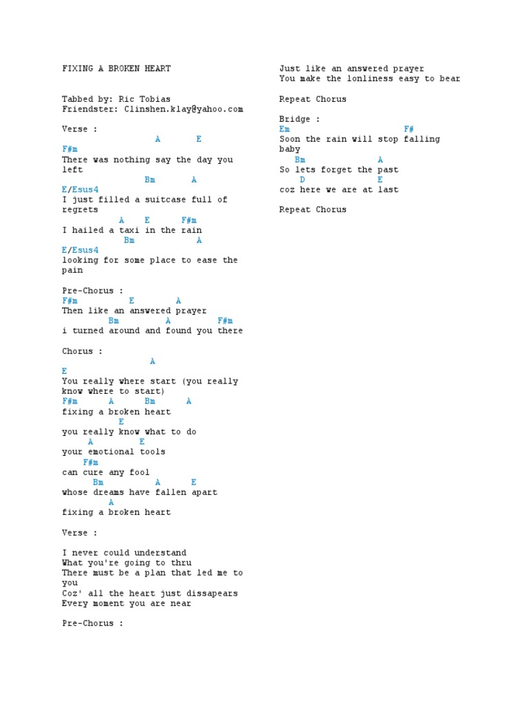 Fixing A Broken Heart   Song Structure   Musical Compositions
