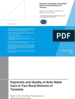 Payments and Quality of Ante-Natal Care in Two Rural Districts of Tanzania