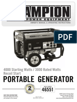 Champion 4000 Watt 46551_manual-English | Gasoline | Carburetor