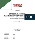 Interim Report on Stress Management