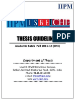 All India Thesis Guidelines for Fall 2011-13 (IMI) Batches