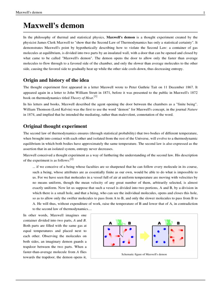 Maxwells Demon Second Law Of Thermodynamics Physics Mathematics Trapdoor Schematic