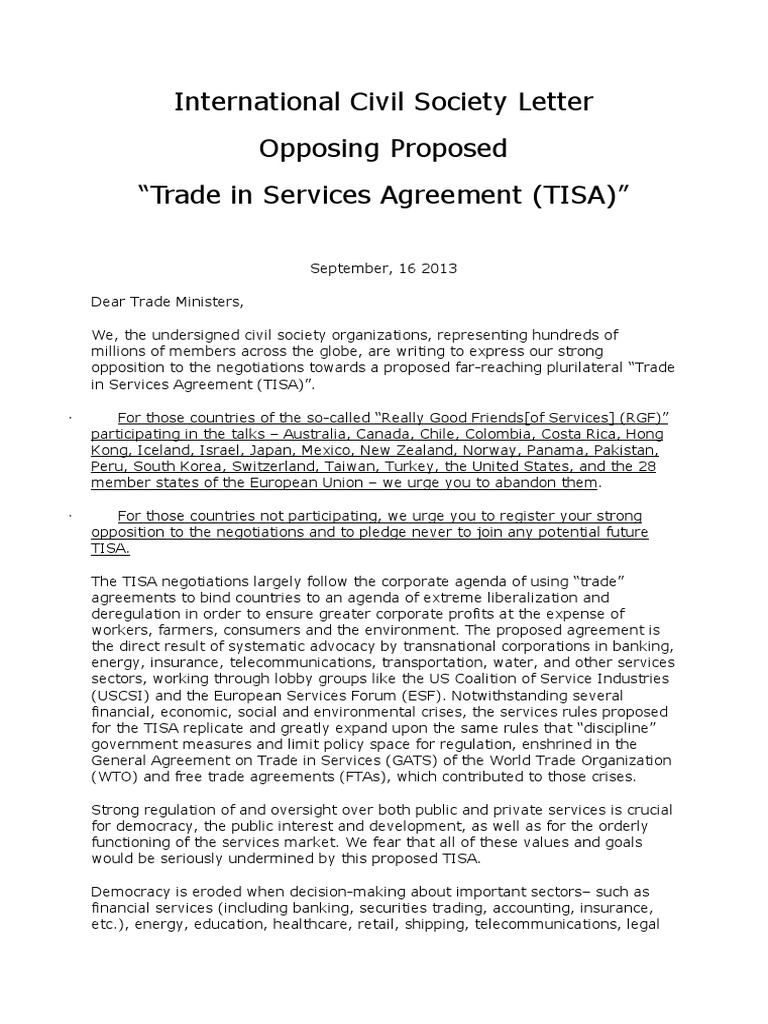 Open cso letter on proposed trade in services agreement tisa open cso letter on proposed trade in services agreement tisa deregulation world trade organization platinumwayz