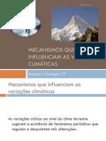 Mecanismos que influenciam as variações climáticas