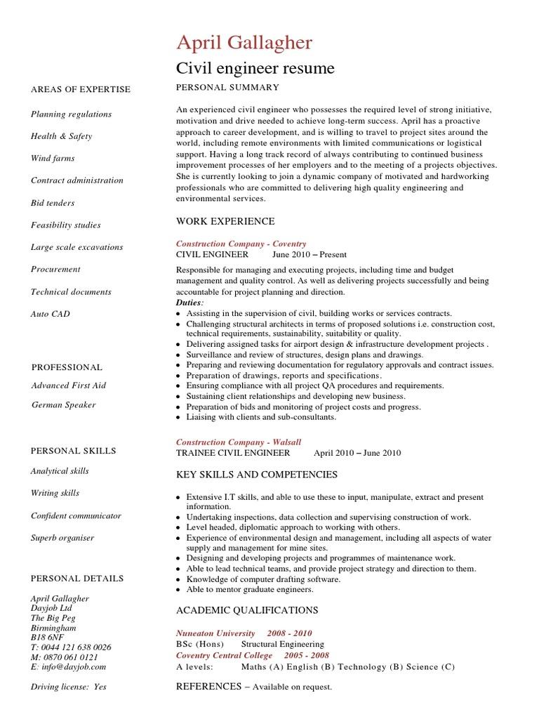 civil engineer resume template  engineer  civil engineering