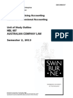 Unit of Study Outline HBL607!2!2013