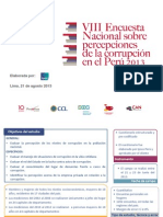 VIII Encuesta Nacional sobre percepciones de la corrupción en el Perú 2013