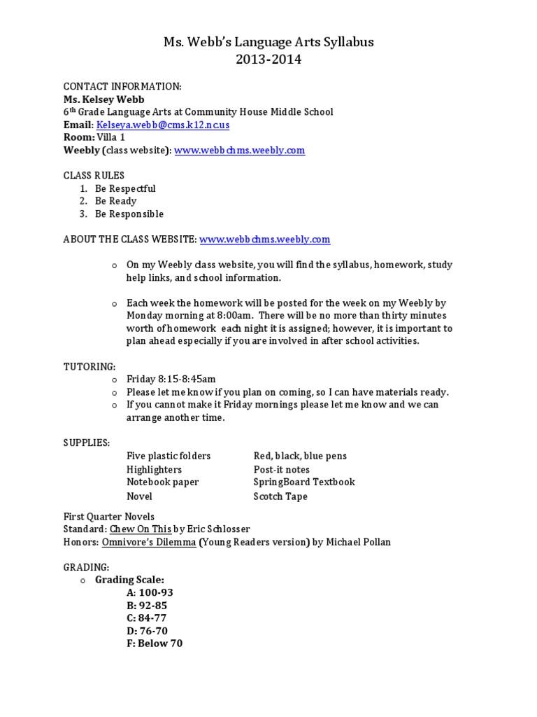 6th grade homework chms