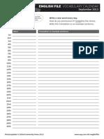 Ef 3 e Vocab Calendar Sept