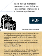Recomposição e manejo de áreas de preservação permanente