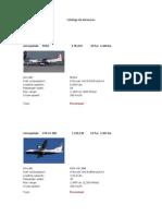 Catálogo de Aeronaves Completo