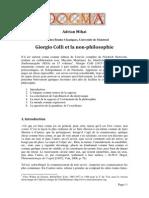 Adrian Mihai - Colli Et La Non-philosophie