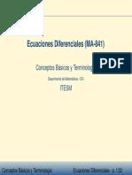 Conceptos Basicos y Terminologia de Las Ecuaciones Diferenciales Ordinarias