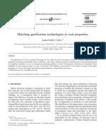 Matching Gasification Technologies to Coal Properties