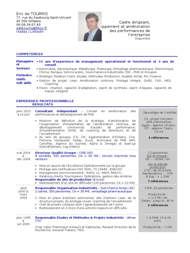 Cv Eric De Tourris 1307 Word Consultant Lean Production