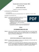 ( texte paru dans le JO du 27 Janvier 1999 ) Loi N° 98 - 029 portant Code de l'Eau