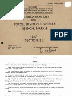 Webley 1947 Identification List for Pistol Revolver Webley 38 Inch Mark 4