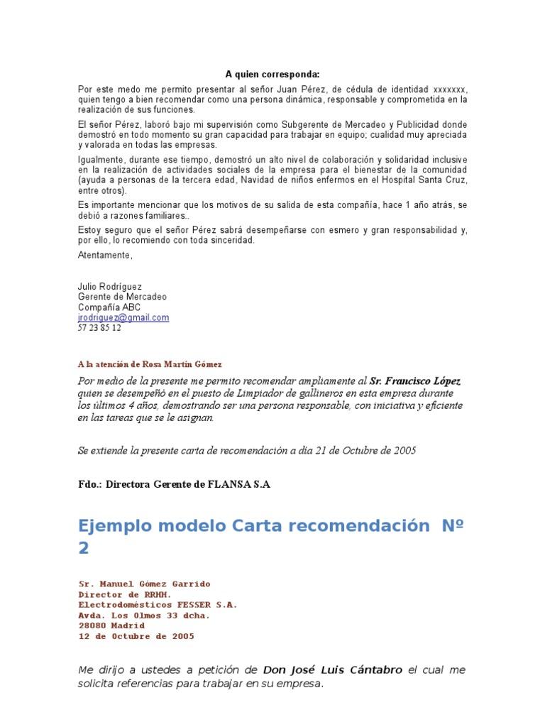 ejemplos para llenar de cartas de recomendacin laboral en word ...