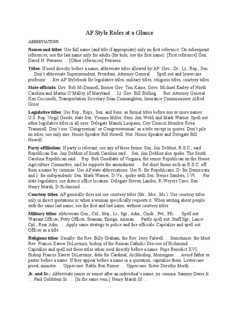 ap style at a glance abbreviations  united states house