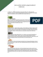Bahan Makanan Sumber Protein Yang Tersedia Di Indonesia