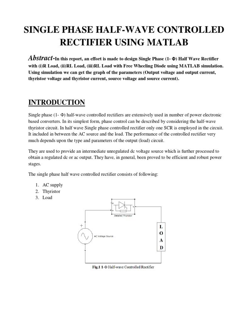 Single Phase Half Wave Controlled Rectifierpdf Rectifier Power Halfwave Circuit Diagram Electronics