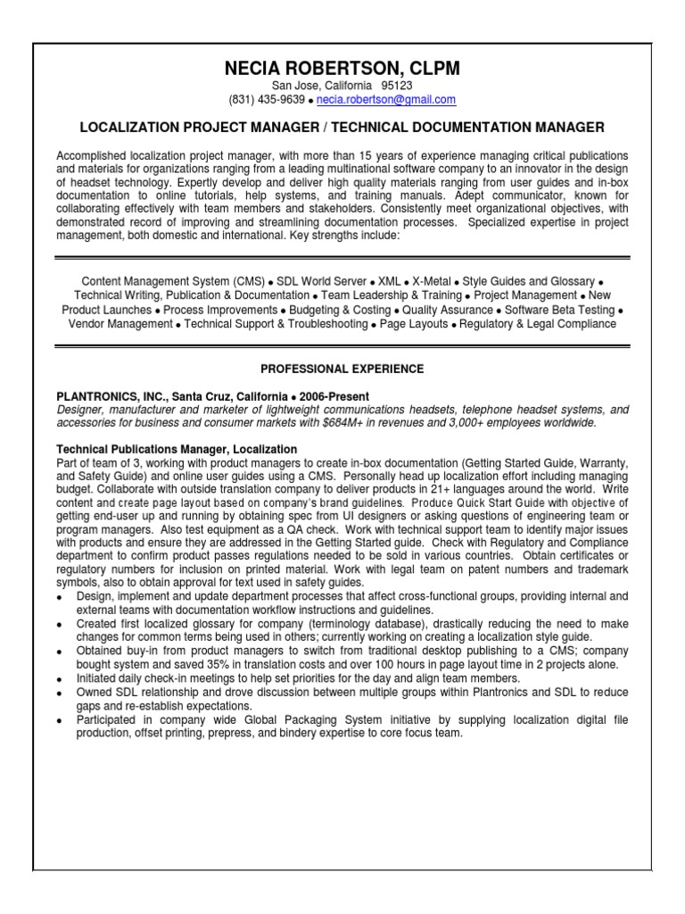Certified Localization Project Manager In San Francisco Bay Ca