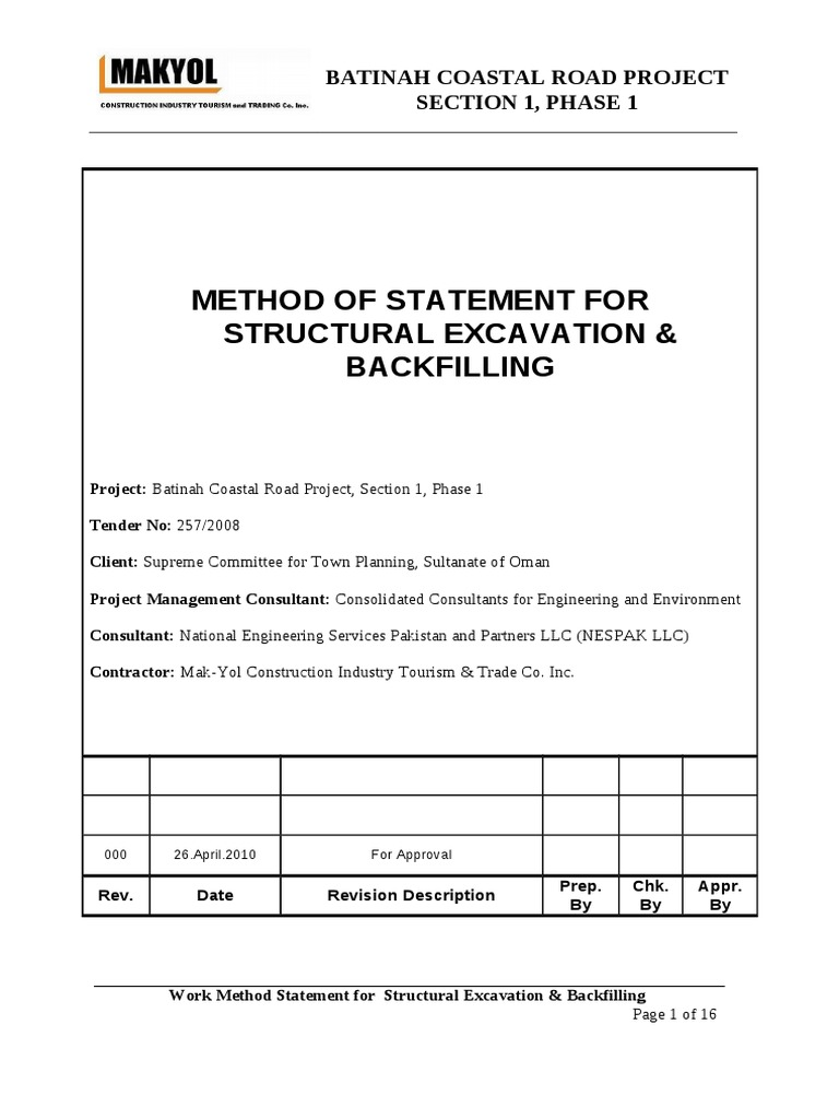 Method statement structural excavation backfilling for Table 6 2 specification for highway works