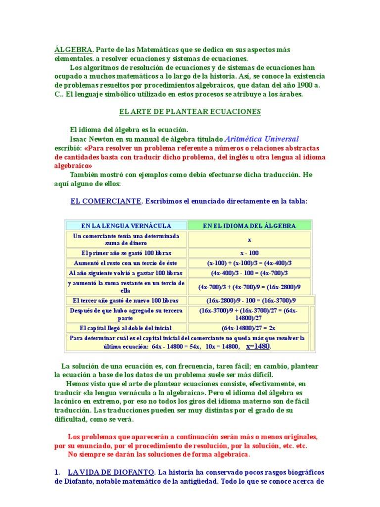 PROBLEMAS RAZONADOS DE ALGEBRA