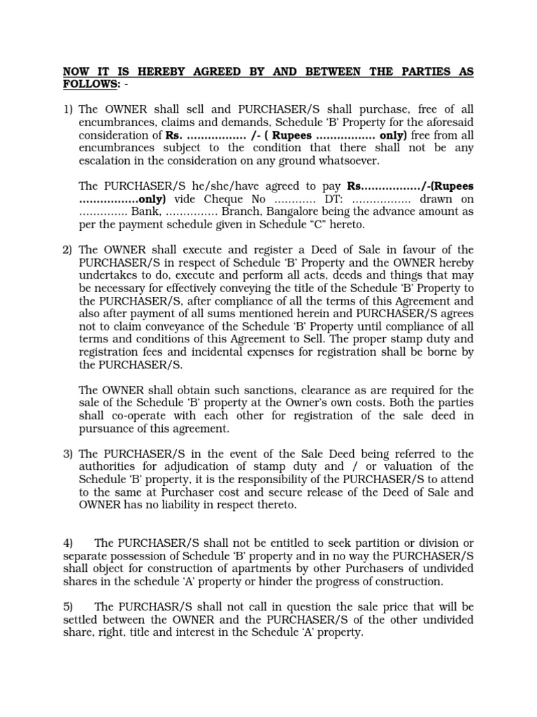 Sale Agreement Caluses Deed Property