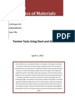 Tension Tests Using Steel and Aluminum Lab Report
