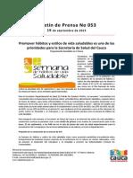 Boletín 053_ Promover hábitos y estilos de vida saludables es una de las prioridades para la Secretaría de Salud del Cauca