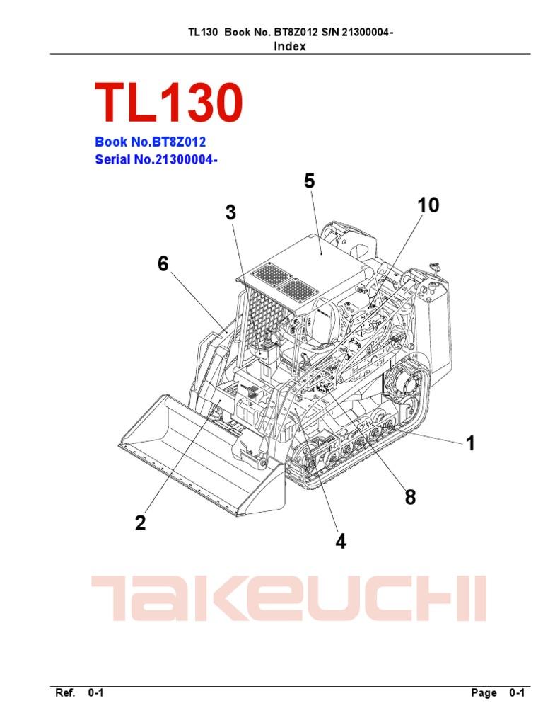 Takeuchi Parts Manual Tl130 Bt8z012(21300004~)