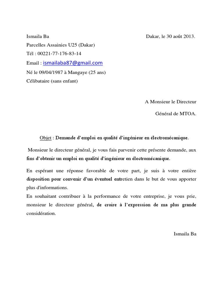 lettre de motivation ingenieur pdf