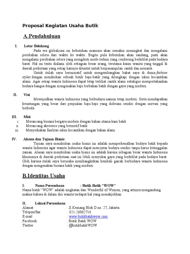Proposal Kegiatan Usaha Butik Doc