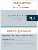 Content Analysis is to Words as Statistics is to Numbers