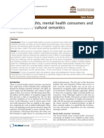 Recognition Rights, Mental Health Consumers and Reconstructive Cultural Semantics