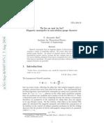 Magnetic  monopoles  in  non-abelian  gauge  theories
