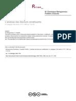 L'Analyse Des Discours Constituants - Cosutta, F. & Maingueneau, D.