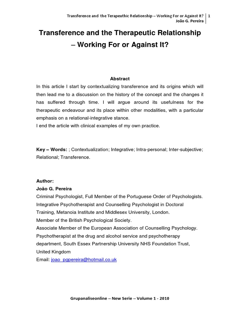 Transference And The Therapeutic Relationship Working For Or Against