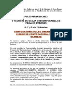 PULSO URBANO 2013-CONVOCATORIA A CREADORES DE DANZA CONTEMPORÁNEA