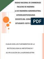 Edith Orozco Cuales Son Los Funtamentos de La Biotecnologia Su Importancia y Aplicacion en La Agroindustria Power Point