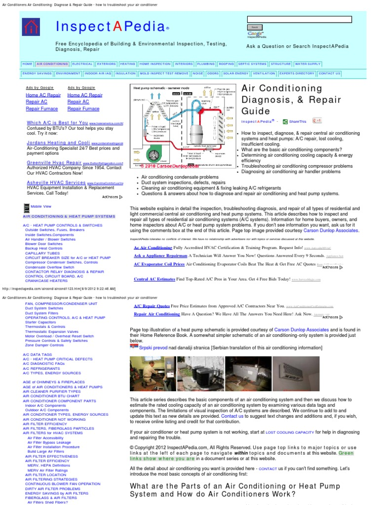 Air Conditioner Guide To Troubleshooting And Repair Goodman Ac Wiring For Heater Conditioning Hvac