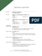 Darshan Mistry CV