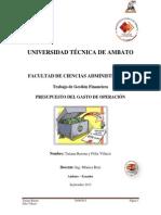 PRESUPUESTO DE GASTO DE OPERACIÓN