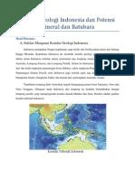 Kondisi Geologi Indonesia Dan Potensi Mineral Dan Batubara