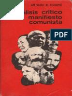 Alfredo E Roland Analisis Critico Del Manifiesto Comunista