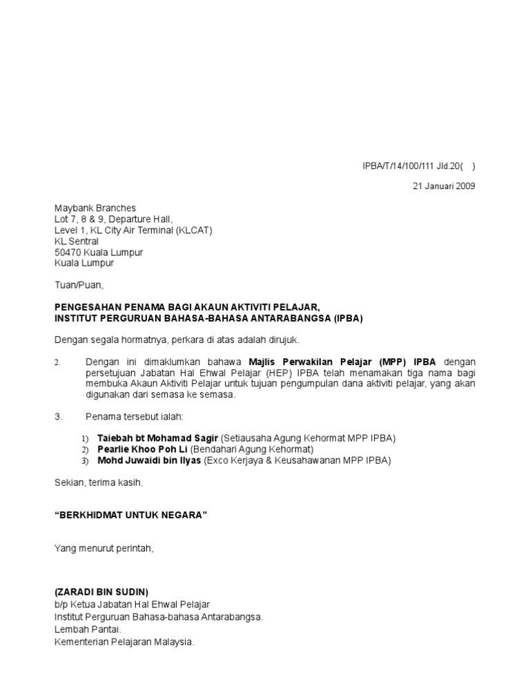Doc Surat Buka Akaun Maybank Leenn Nafea Academia Edu